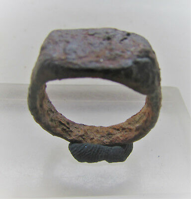 Superb Ancient Roman Bronze Seal Ring With Markings On Bezel