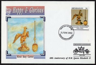 Grenadines Grenada: 40th Anniv. of Coronation; Pair of First Day Covers (FDC)