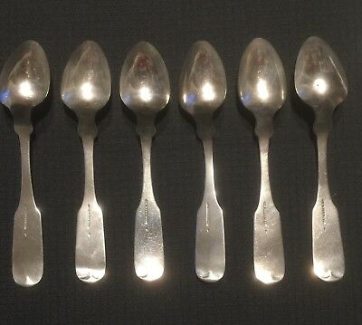 Six Southern Coin Silver Teaspoons, CSA Major T.W. Radcliffe, Columbia., S. Car.