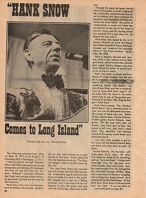 Hank Snow 4 Page 1972 Magazine Article Clipping 12 Pictures Country Music