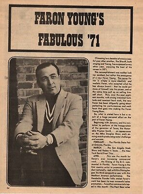 Faron Young 3 Page 1972 Magazine Article Clipping 4 Pictures Country Music