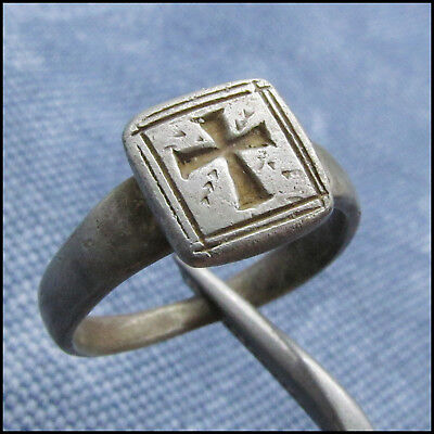 """ C R O S S ""  Ancient Silver Byzantine Ring !!!"