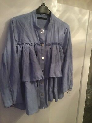 Ladies Blue Smock Frill Light Jacket with Zip detail sleeves. Size L from Zara