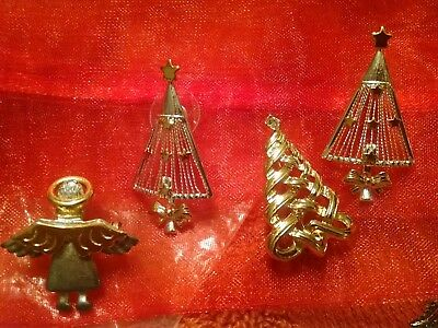UNUSUAL Christmas Tree Earrings Stud/BROOCH & VINTAGE ANGEL PIN Jewelry 4PC. LOT