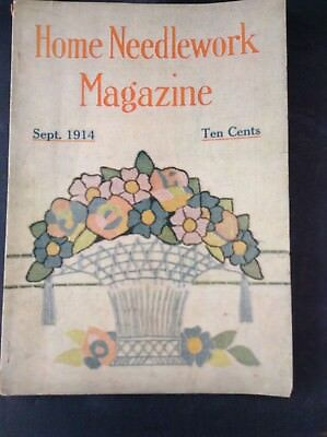 Vintage 1914  Home Needlework Magazine Crochet Embroidery Projects