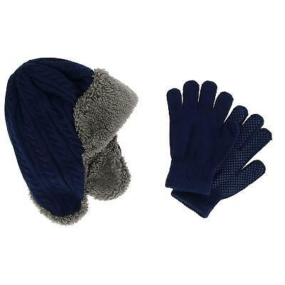 New CTM Boy's 4-7 Knit Trapper Hat with Sherpa Lining and Matching Glove Set