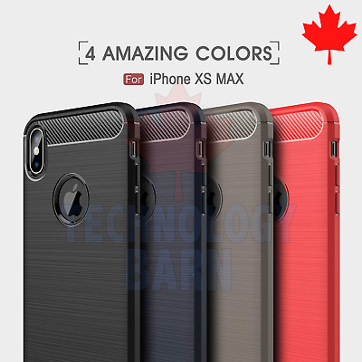 For iPhone Xs Max - Protective Carbon Fiber Soft TPU Hybrid Case Cover