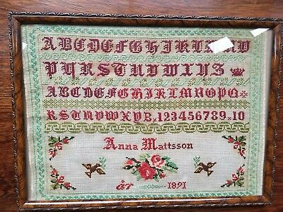 Vintage Cross Stitch Sampler 1891 In Walnut Frame Ref A7