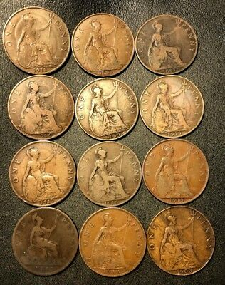 Vintage Great Britain Coin Lot - 12 Excellent LARGE Pennies - 1883-1936 -Lot N13