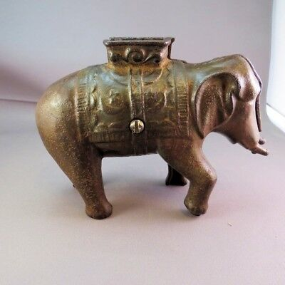 CAST IRON ELEPHANT Metal Still Coin BANK Trunk-Less w HowDah Seat 1900s Antique
