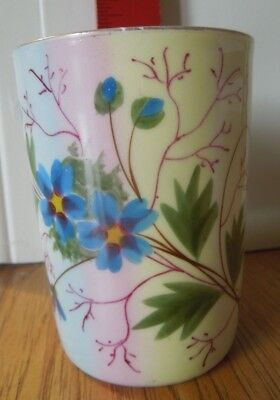 Vintage glass / tumbler drinking glass / cup with flowers.