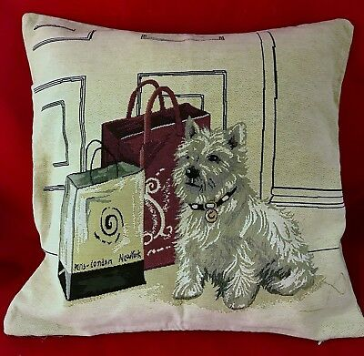 Jacquard woven Cushion Cover with Westie- New