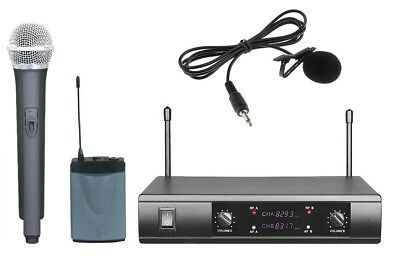 UHF Dual Wireless Cordless Microphone System Handheld Lavalier Lapel Microphone