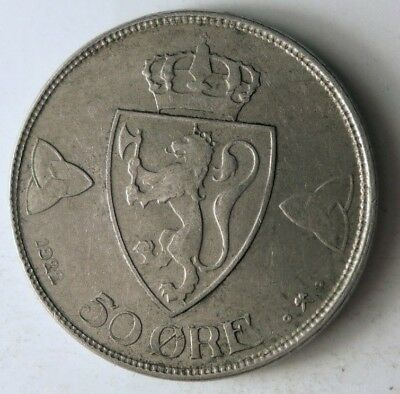 1922 NORWAY 50 ORE - HARD TO FIND Scarce Date Coin - Lot #N13