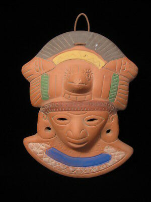 Vintage Red Clay Tonatiuh Lord Mask