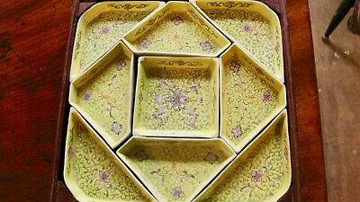 Vintage Rose Famille Chinese Yellow Porcelain Sweet Meats