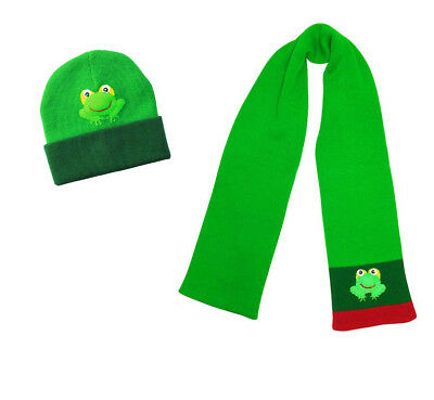 NWT Kidorable Children's FROG Knit Hat & Scarf Set- NEW