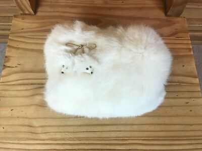 Vintage RABBIT FUR CHILD'S HAND WARMER MUFF Animal Faces NICE!