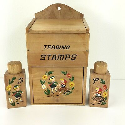 Vintage Trading Stamps Storage Box Wooden Box With Salt And Pepper Shakers