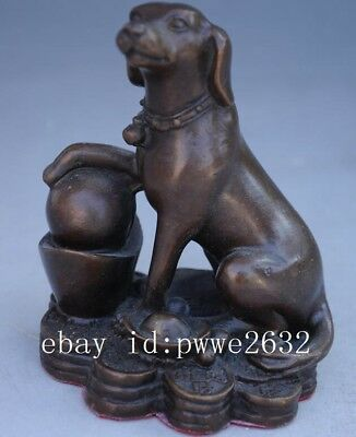 chinese old hand engraving Feng Shui pure copper Wealth  dog statue d02