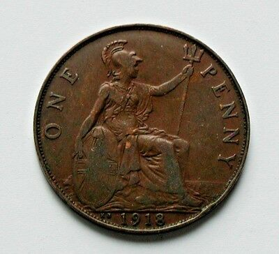 1918 KN UK (Great Britain) George V Coin - One Penny (1d) - brown