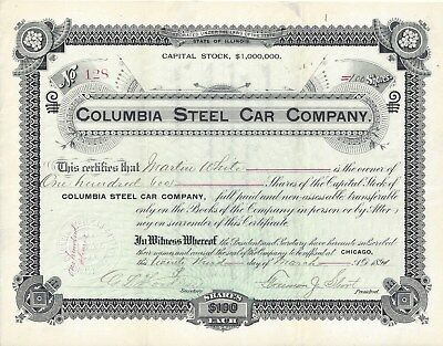 Stk-Columbia Steel Car Co. 1894 Chicago, IL See images 3 & 4 for great info.