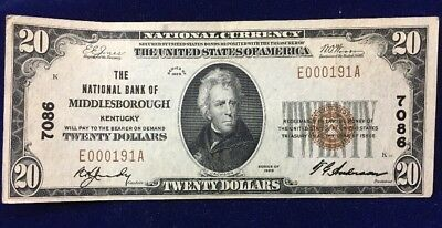 1929 National Bank Of Middlesborough Kentucky $20 National Currency