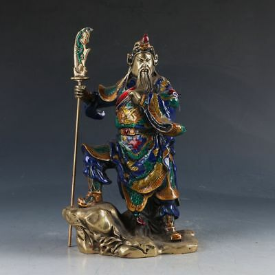 Chinese Cloisonne Sculpture Handwork Carved Guangong Statue MZ017