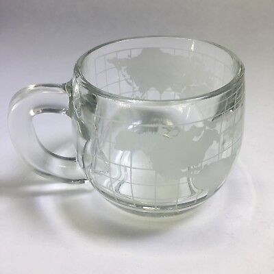 Vintage NESTLE Etched Heavy Glass World Globe Map Mug