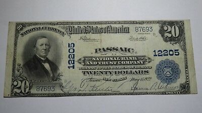 $20 1902 Passaic New Jersey NJ National Currency Bank Note Bill! Ch. #12205 VF+!