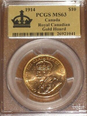 1914 Canada $10 Gold Coin - Royal Canadian Gold Hoard PCGS MS63