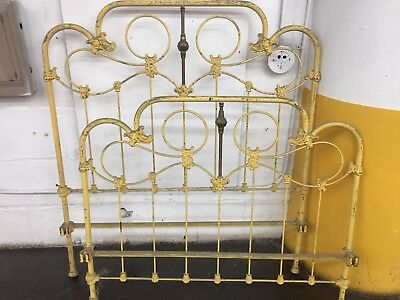 Antique Cast Iron And Brass Queen Size Bed Frame