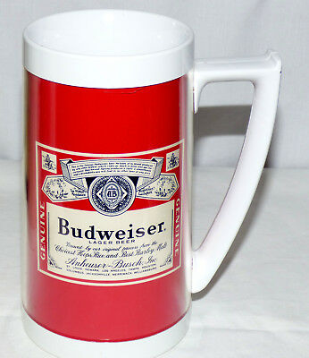 Vintage Thermo-Serv Plastic Thermal Beer Mug Made in USA 1970's BUDWEISER