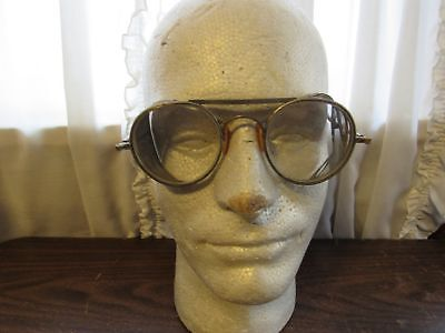 1920's Bausch & Lomb Deco Safety Glasses w/ case Steam Punk Goth Motorcycle