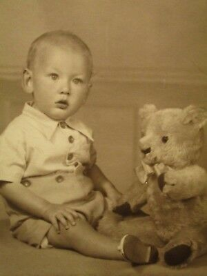 Rppc 1930's. Boy Posing With His Antique Teddy Bear. Postcard H11