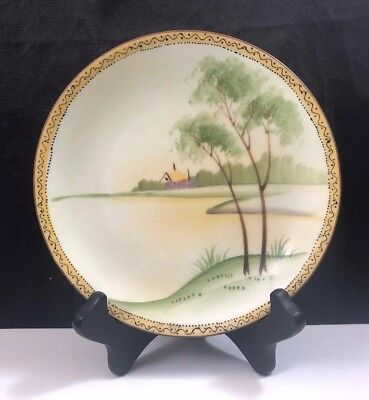 Antique Nippon Hand Painted House & Trees Landscape Scene Plate 6 1/4""