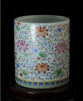chinese old hand-made white glaze pastel porcelain flower brush pot c01