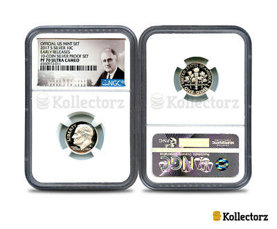 2017 S Silver Roosevelt 10C Ngc Pf70 Ultra Cameo Portrait Label Early Releases