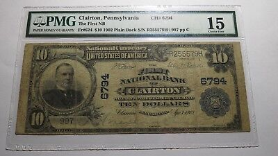 $10 1902 Clairton Pennsylvania PA National Currency Bank Note Bill Ch. #6794 PMG