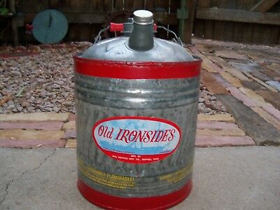 Vtg Delphos 2 Gal Galvanized Utility / Gas Old Ironsides Can Red No.122  NOS