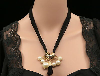 fashion cream pearl charms gold plated black thread chain necklace Jewerly N96