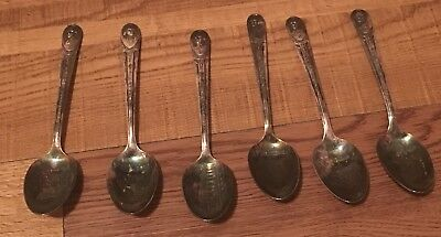 Lot Of 6 Vintage SIlver Plate President Collector Spoons by Wm Rogers MFG Co.