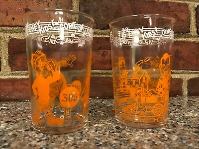 2 ~ Vintage 1953 Welch's Howdy Doody Jelly Glasses - Orange