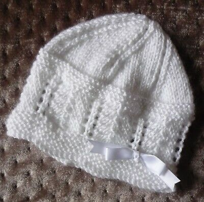 Newborn Baby Beanie. Soft White. Boy Or Girl Baby. Hand-Knitted By Me.