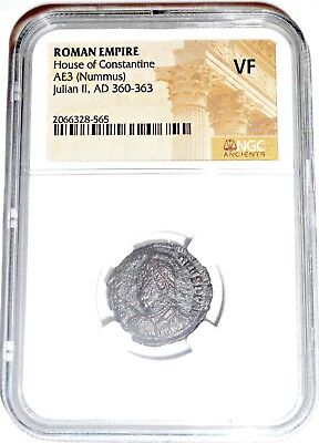 Ancient Roman Emperor Julian II Nummus Coin,NGC Certified  VF With Story &