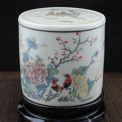Chinese old hand-carved porcelain famille rose bird & flower Cricket cans c01