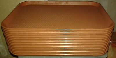 "Cambro Tray 1216ff Lot of 16 Trays Brown 12""x16"" Fast Food Restaurant Cafeteria"