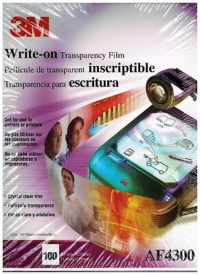 "3M Write-on Transparency Film For Copiers AF4300, 100 Sheets 8.5"" x 11 NIB"