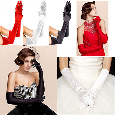 Women Black Long Satin Wedding Gloves Opera Costume Bridal Party Dress Evening