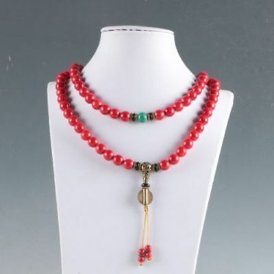 100% Natural Red Coral &Brass Handwork Decoration Necklaces